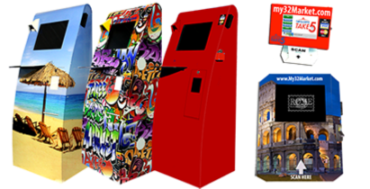 Custom color, wrap or decal options offered to customize your Three Square Market kiosk.